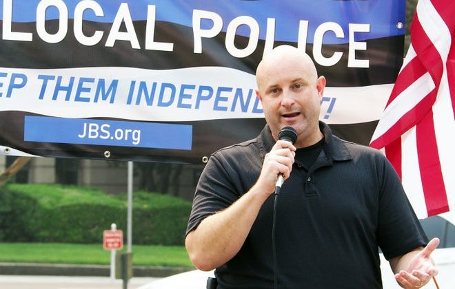 Stockton Police Officers' Association President Chuck Harris at a rally Saturday in support of local law enforcement.
