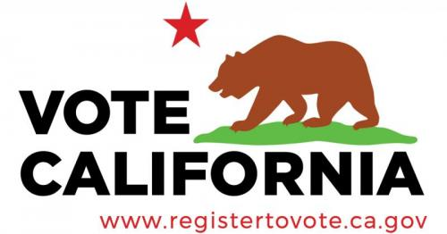 California state flag saying VOTE CALIFORNIA